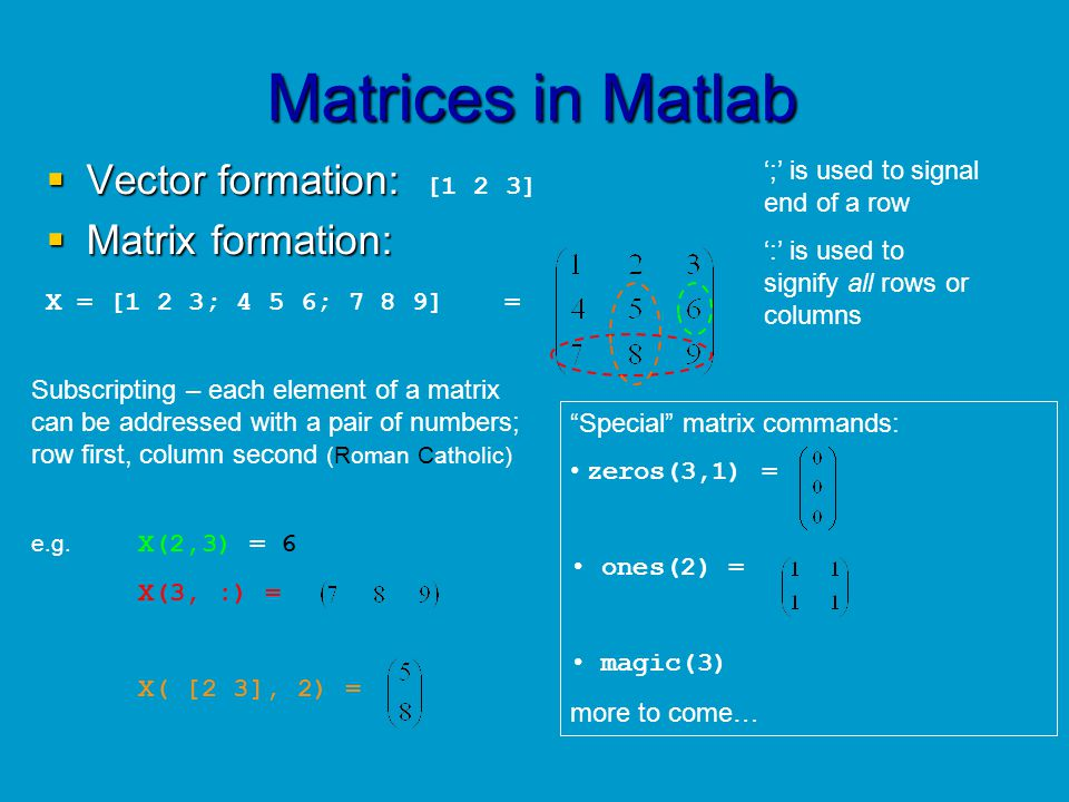 Matrices in Matlab Vector formation: [1 2 3] Matrix formation: